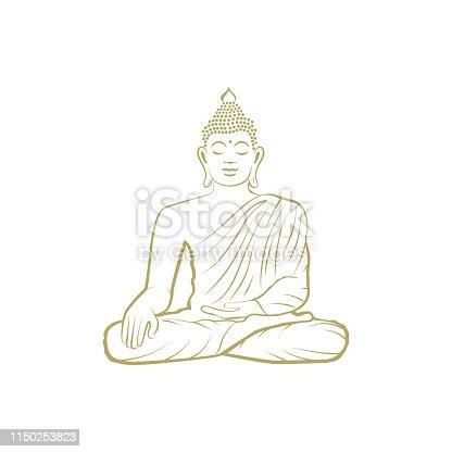 Golden Buddha, vector Illustration