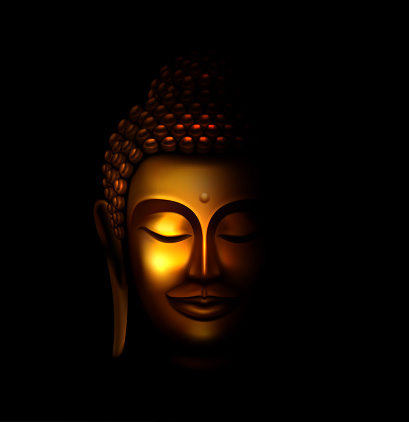 Illustration of Smiling Golden Buddha Face in the Dark and Light Illuminated