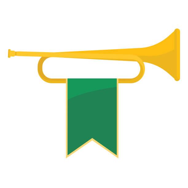 goldene trompete mit grünband drauf vektor-illustration - fanfare stock-grafiken, -clipart, -cartoons und -symbole