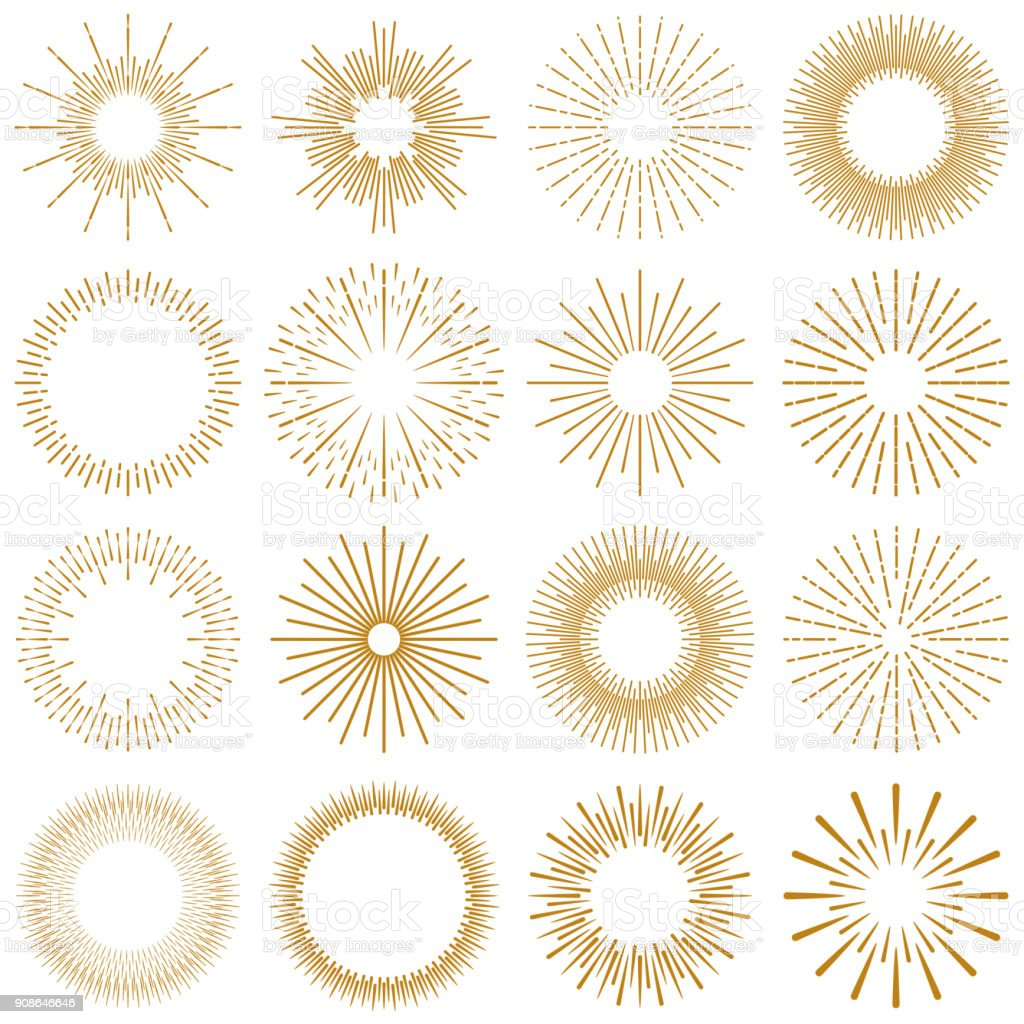 Golden Burst Rays Collection Vector Illustration of a beautiful collection of Golden rays of sunburst design elements. Vintage style elements for your graphics and your website design. Abstract stock vector