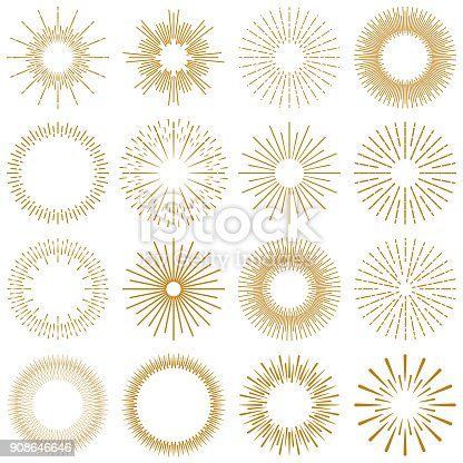 Vector Illustration of a beautiful collection of Golden rays of sunburst design elements. Vintage style elements for your graphics and your website design.