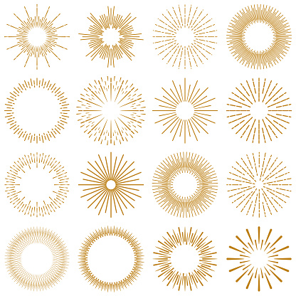 Golden Burst Rays Collection Stock Illustration - Download Image Now