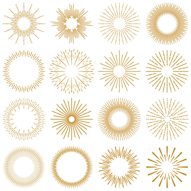 Golden Burst Rays Collection Vector Illustration of a beautiful collection of Golden rays of sunburst design elements. Vintage style elements for your graphics and your website design. backgrounds symbols stock illustrations