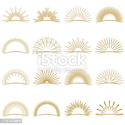 Vector Illustration of a beautiful collection of Golden Burst Sunset Rays