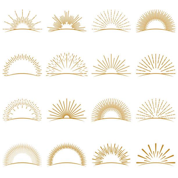 kolekcja golden burst sunset rays - zachód słońca stock illustrations