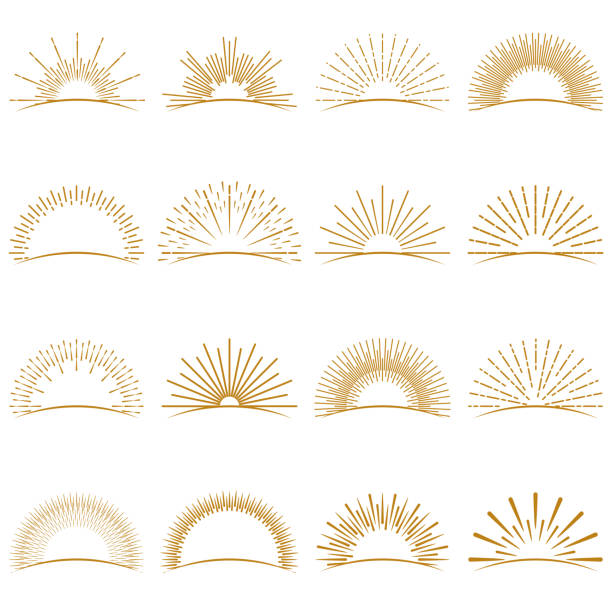 golden burst sunset rays collection - promień słońca stock illustrations