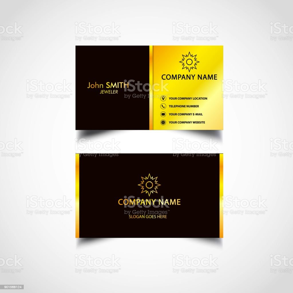 Golden Business Card Template Nous Taille Fichier Eps Vecteurs