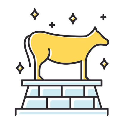 Golden Calf Bible story color icon. Animal idol, bull representation. Religious legend. Christian religion, holy book scene plot. Exodus Biblical narrative. Isolated vector illustration