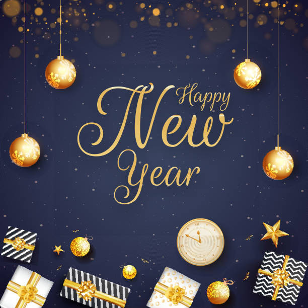 Golden calligraphy of Happy New Year with top view of gift boxes, star, baubles and clock illustration on blue bokeh background. Can be used as greeting card design. vector art illustration
