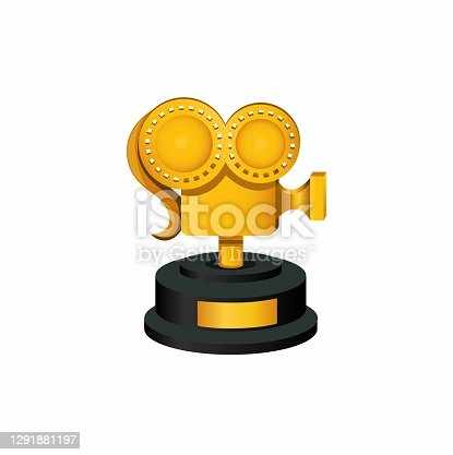 istock Golden camera roll thropy award achievement for movie symbol concept in cartoon illustration vector on white background 1291881197