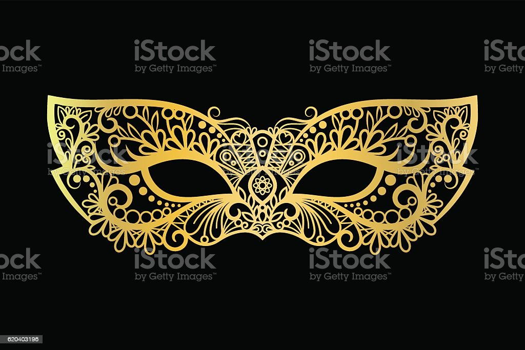 Golden carnival mask on black background vector art illustration