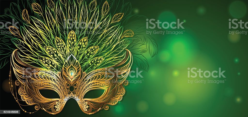 Golden carnival mask with feathers. vector art illustration
