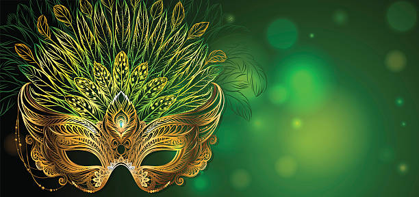 Golden carnival mask with feathers. - ilustración de arte vectorial