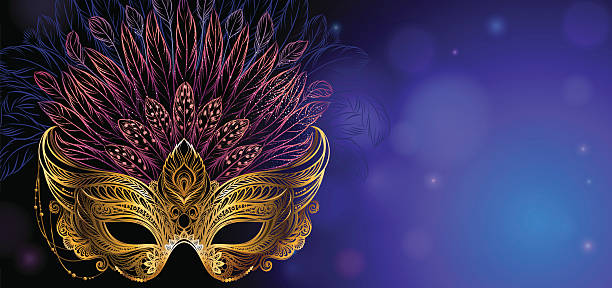 ilustrações, clipart, desenhos animados e ícones de golden carnival mask with feathers. - fantasia