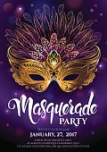 Golden carnival mask with feathers. Beautiful concept design with hand drawn lettering for poster, greeting card, party invitation, banner or flyer. Vector Illustration.