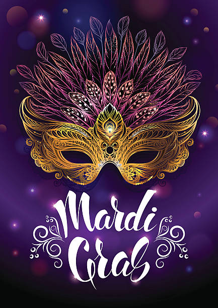golden carnival mask with feathers. - mardi gras stock illustrations, clip art, cartoons, & icons