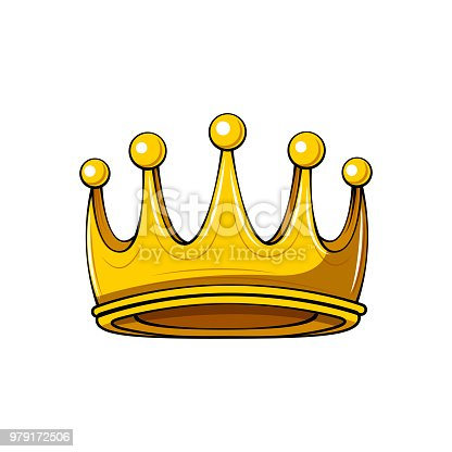 Golden Cartoon Crown Royal Badge King Symbol Queen Sign Design