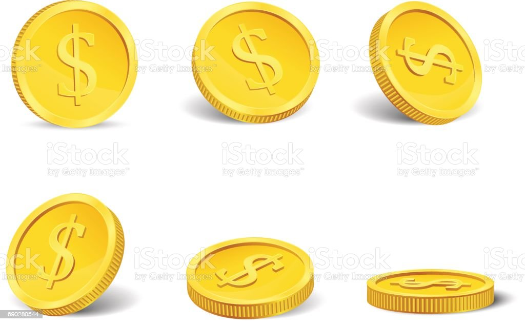 Golden casino coins in different positions isolated on white. Vector. vector art illustration