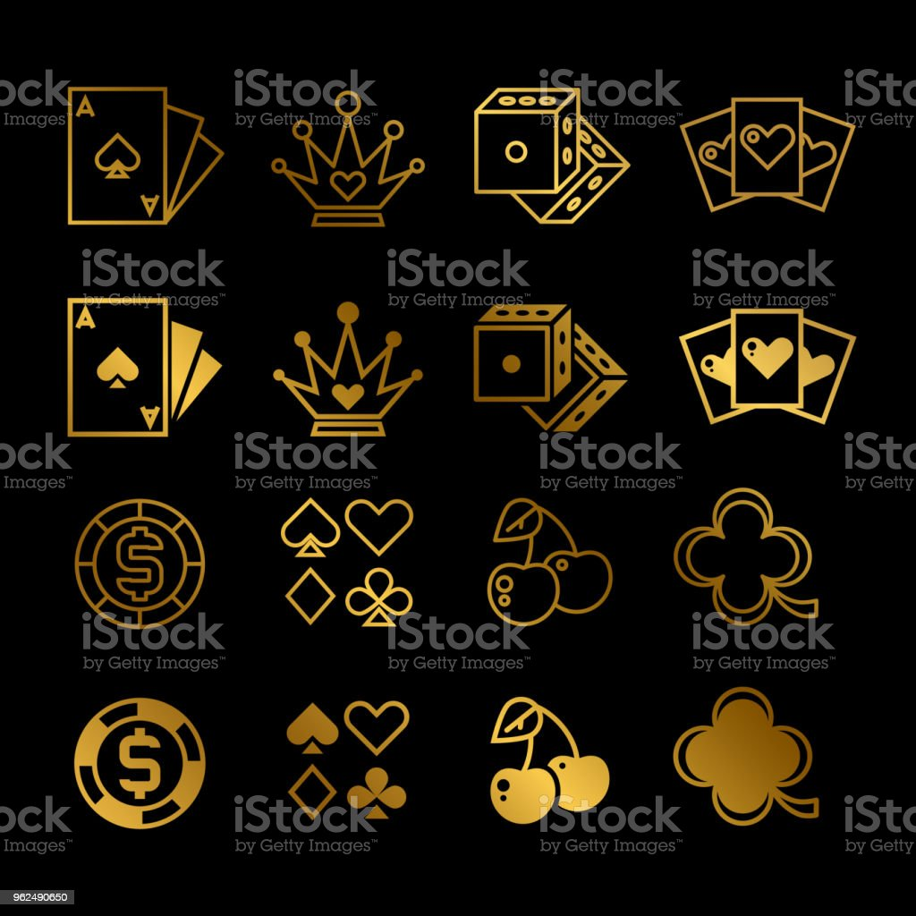 Golden casino, gambling, poker line and silhouette vector icons - Royalty-free Abstract stock vector