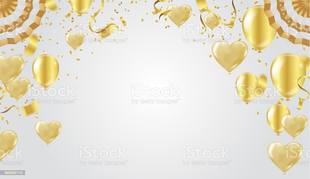 Golden celebration background. Group of gold balloons isolated on white background Heart balloons vector art illustration