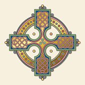 Complex, colorful, Celtic cross ornament with gold on chamois background. The shape is based on a square cross in a circle and filled with an ornamental, endless knot; centering a trinity symbol.