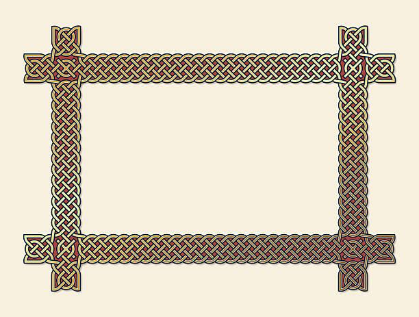 illustrations, cliparts, dessins animés et icônes de or noeud celtique cadre élément - enluminure bordure