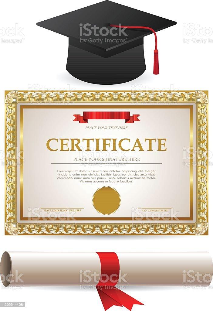 Golden certificado diploma y tapa de graduación - ilustración de arte vectorial