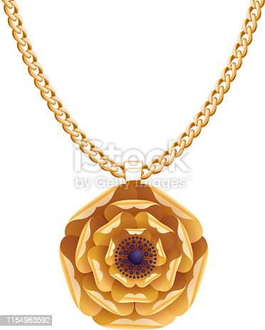 Golden chain necklace with golden flower pendant. Jewelry design.