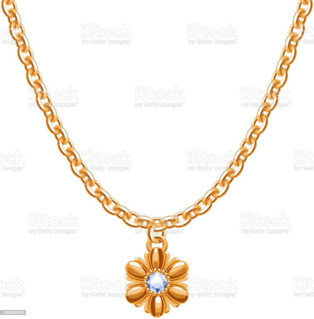 Golden chain necklace with golden flower pendant vector art illustration
