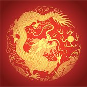 A golden Chinese dragon on a red background
