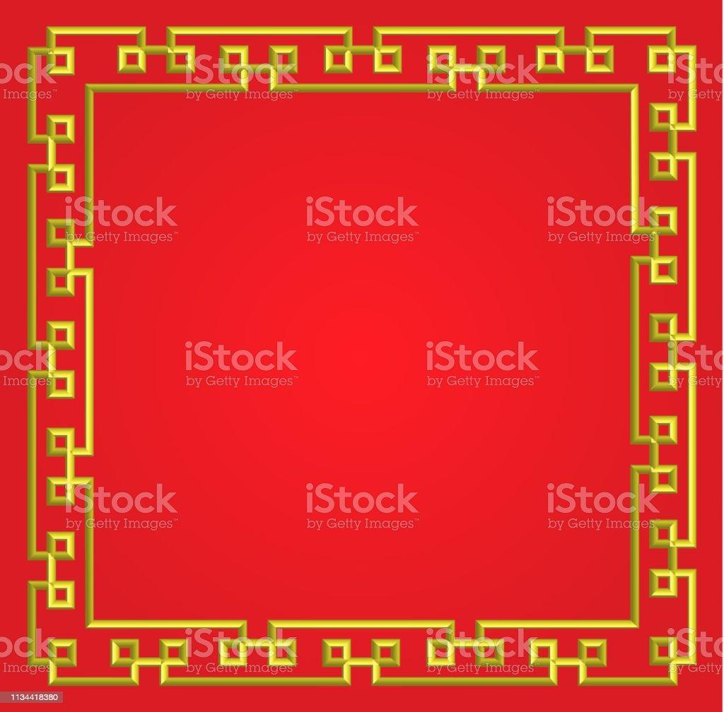 Carte Chine Frontiere.3d Cadre Chinois Dore Sur Fond Rouge Vecteur Frontiere Carte