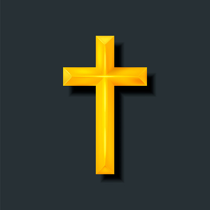 Golden Christian cross. Realistic cross isolated on background. Vector illustration.