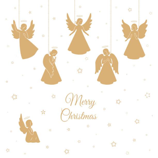 stockillustraties, clipart, cartoons en iconen met gouden kerst engelen met vleugels en nimbus - engel