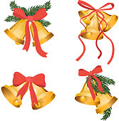 Golden Christmas bells holiday collection with green tree branches and red bow ribbon isolated on white background. Gold bell for app game, web ui or interior decoration. Vector xmas illustration set eps10