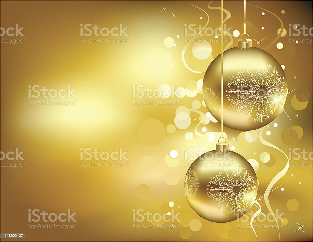 Golden Christmas decorations with a bokeh effect background royalty-free stock vector art