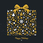Golden christmas gift box illustration with yellow golden christmas icons. Eps8.