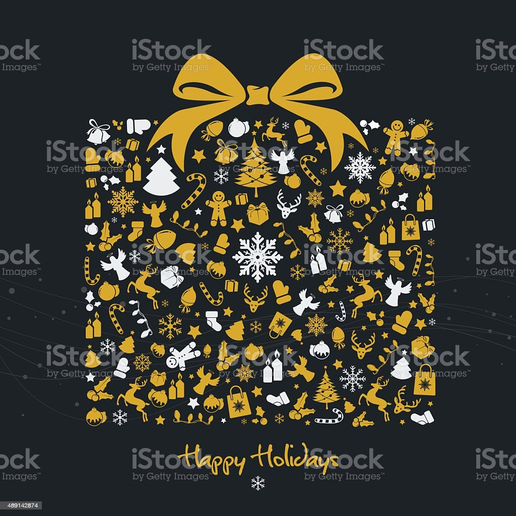 Golden christmas gift box with icons vector art illustration