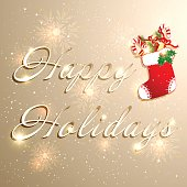 Golden Christmas Holidays Background
