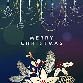 Celebrate the Christmas and New Year with shiny ornaments and Christmas floral on the blue background