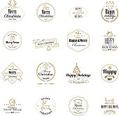 Golden christmas stamps with lineart icons. Isolated on white background. Eps8.