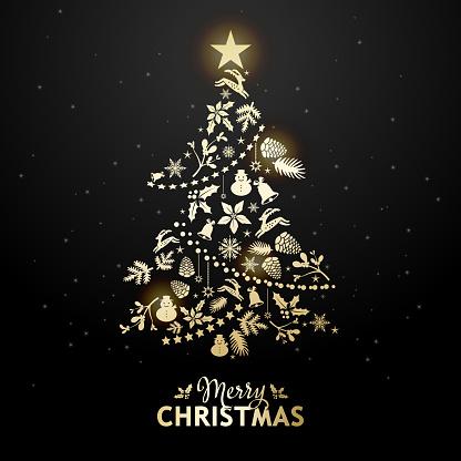 Golden Christmas Tree Elements