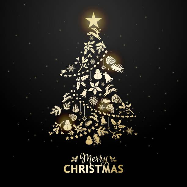 ゴールデン クリスマス ツリー関連の要素 - クリスマスツリー点のイラスト素材/クリップアート素材/マンガ素材/アイコン素材