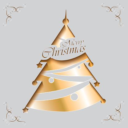 Golden Christmas Tree Invitation Card Stockowe Grafiki