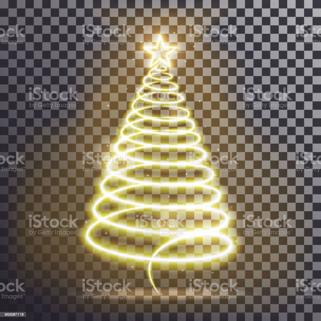 golden christmas tree light tree effect with big yellow star and sparkle isolated on transparent