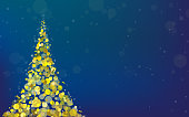 Vector background with golden Christmas tree place od deep blue background.