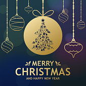 Celebrate the Christmas and New Year with Christmas tree on golden bauble and ornaments hanging on the blue background