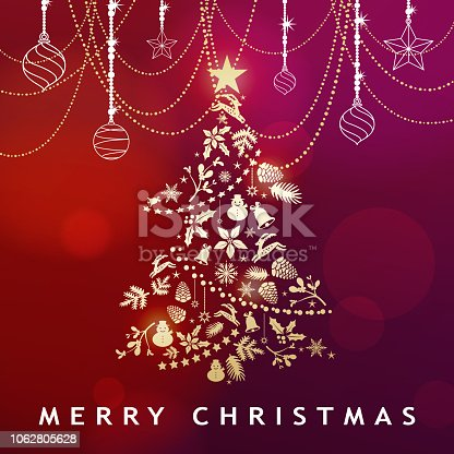 Celebrate the Christmas and New Year with shiny ornaments and Christmas floral forming a Christmas tree shape on the red background