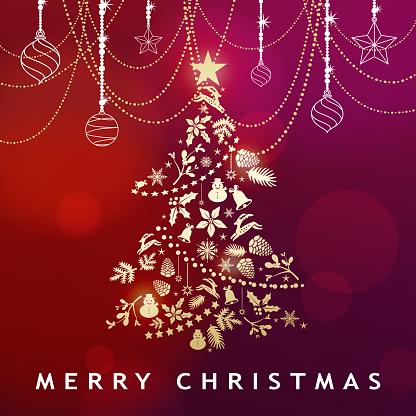 Golden Christmas Tree & Ornaments