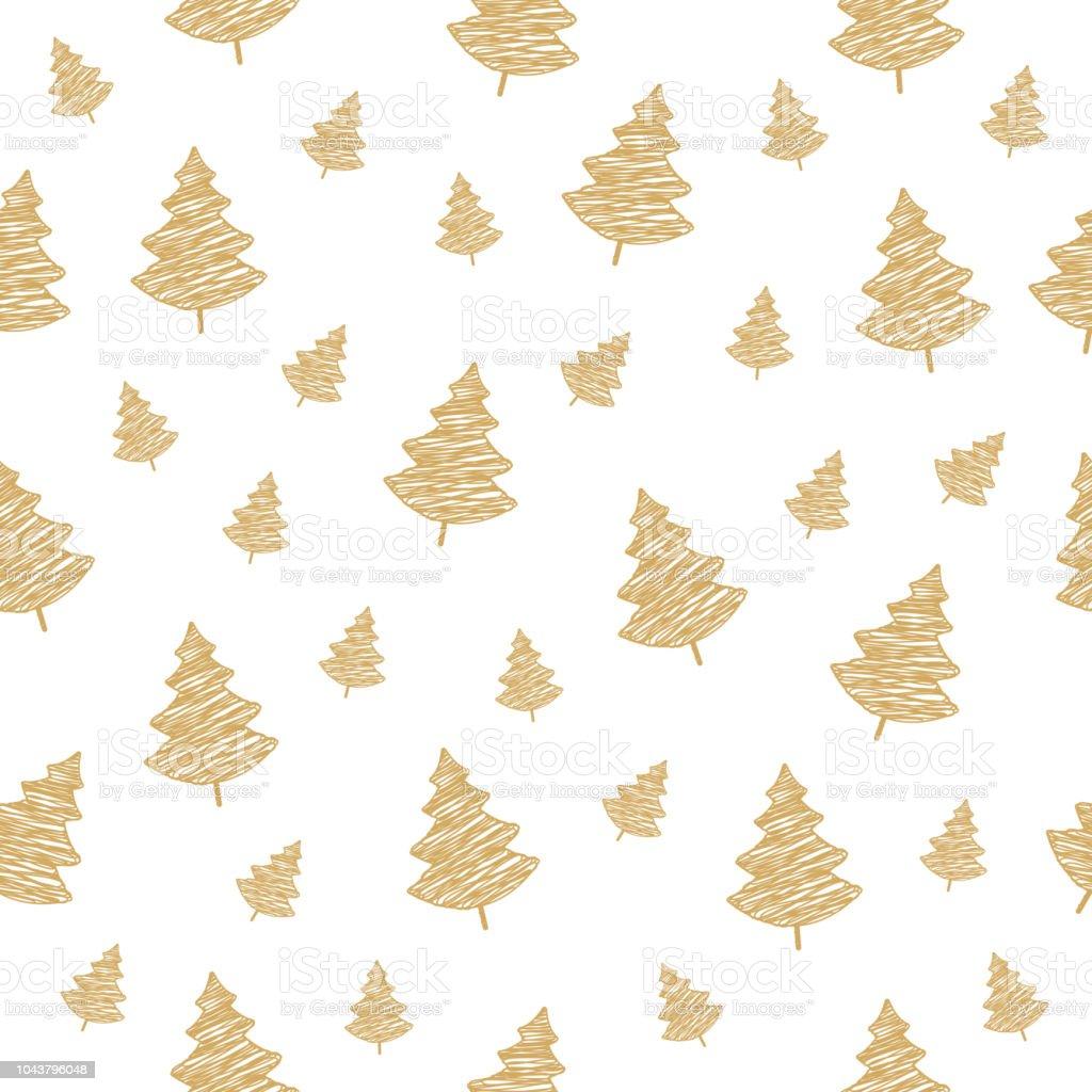 Ilustración De Garabato De Patrones Sin Fisuras De Oro árbol De