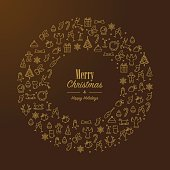 Golden Christmas wreath with lineart xmas icons and text. Eps8.